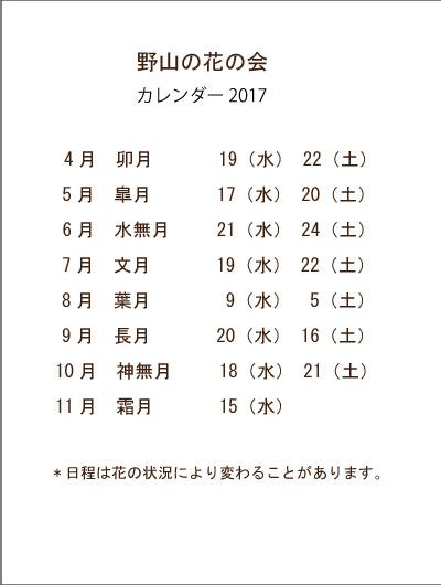 2017カレンダー野山